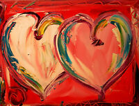 PINK HEARTS  Abstract Modern CANVAS Original Oil Painting GFNI9