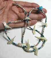 Vintage Heishi Fetish Necklace Carved MOP Birds Turquoise Nugget Silver Bead 24""