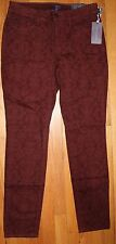 $152 NYDJ NOT YOUR DAUGHTER'S JEANS LEGGING DK RED FLORAL SKINNY JEANS SZ 6