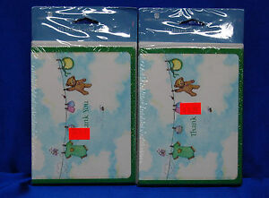 Baby Gift Thank You Cards,  20 Cards w/Envelopes Baby Items on Clothesline