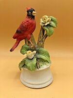 Ceramic Cardinal Bird Music Box and Ceramic Figurine Duo Royal Crown