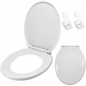 Bathroom Toilet Seat White Soft Close Oval Water Closet Boxed, Hinged, Plastic.