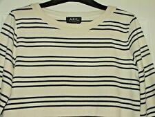 BN A.P.C.Rue Madame Paris Sweatshirt White/Ivory With Navy Stripes Size M. £135