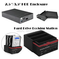 2.5''/3.5'' External Triple SATA IDE HDD Docking Station Hard Drive Card Reader