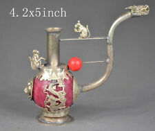 China's old handmade exquisite of miao silver jade sculpture - mice dragon