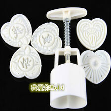 Household Heart shape Moon cake/Pastry mold hand pressure One Barrel 5 Pattern