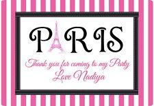PARIS a tema grandi adesivi personalizzati Gloss, SIGILLI etichette per Party Bags