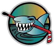 "Ice Hockey Stick Angry Shark Puck Car Bumper Window Vinyl Sticker Decal 5""X4"""