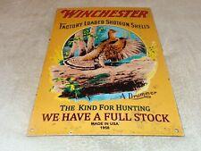 """VINTAGE 1958 WINCHESTER SHOTGUN SHELLS 16"""" PORCELAIN METAL GASOLINE OIL GUN SIGN"""