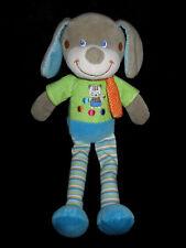 Doudou Chien gris bleu vert à pois rayé chat Mots d'enfants foulard orange 31 cm