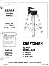 "1986 Craftsman 113.236110  16"" Scroll Saw Instructions"