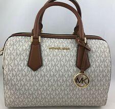New Authentic Michael Kors Hayes Large Duffle Satchel Handbag Purse Vanilla
