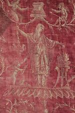 18th century French toile printed linen textile red faded homespun textile Rare