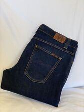 Nudie Jeans GRIM TIM DRY NAVY Straight Leg Organic Denim Jeans Mens 38x32(N1825)