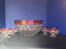 WHITEHALL RUBY RED DIAMOND POINT GLASS PUNCH BOWL WINE HOLDER & 6 CUPS NO LADLE