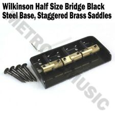 Wilkinson Black Half Size Bridge Steel Base Brass Saddles Tele Short WTBS