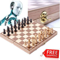 New Wood Chess Set Wooden Board Hand Crafted Folding Chessboard Travel Game US