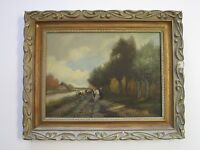 W.V.D BERG SIGNED PAINTING ANTIQUE 19TH TO 20TH CENTURY LANDSCAPE COWS WOMAN