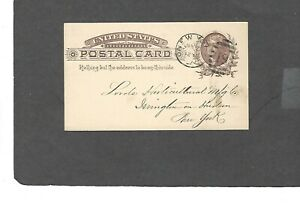 UX8 1c JEFFERSON POSTAL CARD-USED-1887 VACUUM OIL CO.,NEW YORK,NY