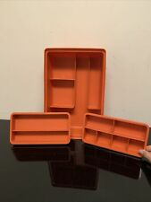 Vintage Tupperware Tuppercraft Orange Stow-N-Go Storage Hobby Container w/Insert