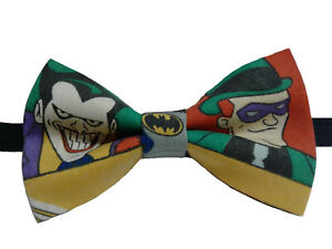 Joker and Riddler Bow Tie, Pretied, Double Layered, Various Sizes