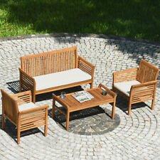 4PCS Wooden Patio Conversation Set Outdoor Furniture Set w/ Cushion