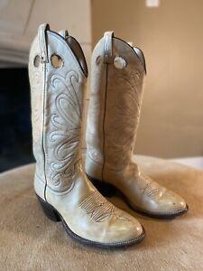 "Mens DAN POST Style 6931 15"" Tall Ivory Buckaroo Cowboy Boots 9.5D FREE US SHIP!"
