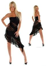 Erosella Grace 2 Black Lycra Black Lace Slant Dress One Size Stripper Dancer