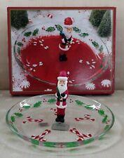 "Gorham ~ ""Winter Follies"" ~ 9½"" ROUND SANTA CANAPE DISH ~ Hand Painted Glass"