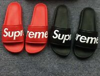 4eac0873b5a ... New Quality SUPREME SLIDES SANDALS SLIPPERS FLIP FLOPS RED OR BLACK BOX  LOGO ...