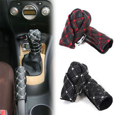 Red Car Faux Leather Gear Shift Knob Cover Hand Brake Cover Sleeve 2 in 1 Set GU