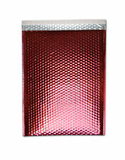 "16"" x 17.5"" Red Metallic Bubble Mailers Padded Shipping Bags 100 Pcs"
