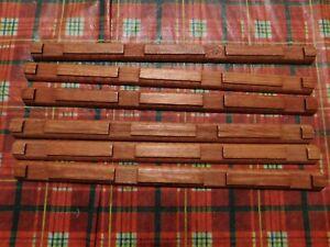 """Wooden LINCOLN LOGS Parts Lot: 6 FLAT 4-Notch Log Pieces 10 5/8"""" Vintage"""