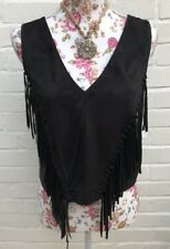 BNWT Zara Faux Suede Top Small Black Fringe Festival Summer Blogger Cropped •