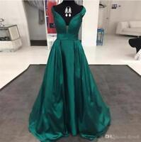 Emerald Green Elegant Formal Party Evening Dresses Ball Gowns Long Satin V-Neck