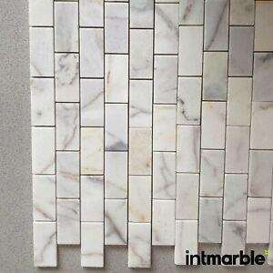Calacatta Honed Subway, Marble Mosaic Natural Stone Floor Wall Tiles, 50X10X10mm