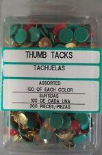 300 Assorted Color Thumb Tacks, 100Ea Green, Red, Brass Color, Crown Bolt Tacks