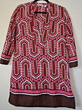 NY&C Women sz M Retro Tunic Blouse White Pink Brown Dots Deep V Neck Dress Boho