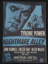 NIGHTMARE ALLEY 1947 Pressbook Tyrone Power Joan Blondell Film Noir posters