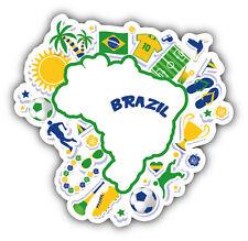 Brazil Soccer Map Car Bumper Sticker Decal 5'' x 5''