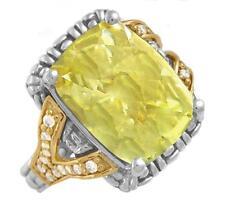Philip Andre 18k Gold & Sterling Silver Diamond & Lemon Quartz Ring size 7.5