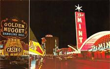 "LAS VEGAS, NV Fremont Street Scene Casinos Night View ""The Mint"" Postcard c1960s"