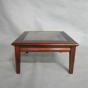 Solid Mahogany Wood Square Coffee Table With Drawer Antique Reproduction Design