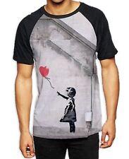 Banksy Balloon Girl Heart Men's All Over Print Baseball T Shirt - Graffiti Art
