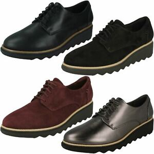 Ladies Clarks 'Sharon Noel' Leather Casual Lace Up Shoes - D Fitting