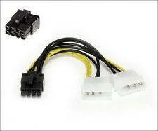 Dual Molex 4 pin to 8 pin PCI-E Express Graphics Card adapter cable Motherboard