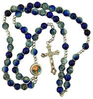 Blue Marble Finish Prayer Bead Rosary Necklace with Colored Scapular Centerpiece