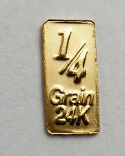 1/60th OF A GRAM PURE 24 CARAT PURE GOLD 999 FINE BULLION BAR D10a