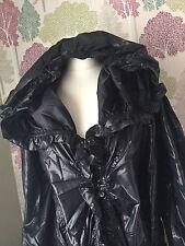 PVC Type Women's Coat Black Raincoat Frill Detail Shiny Mac Jacket