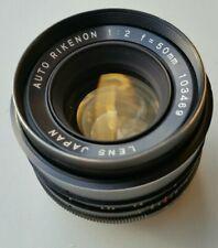 Auto Rikenon 50mm F 2 Lens Japan No 103469 M42 Screw Mount with Caps